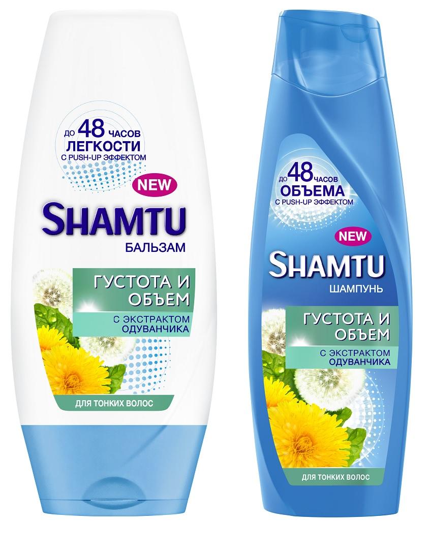 Спайка SHAMTU густота и объем с экстратом одуванчика шампунь 360 мл+бальзам 360 мл