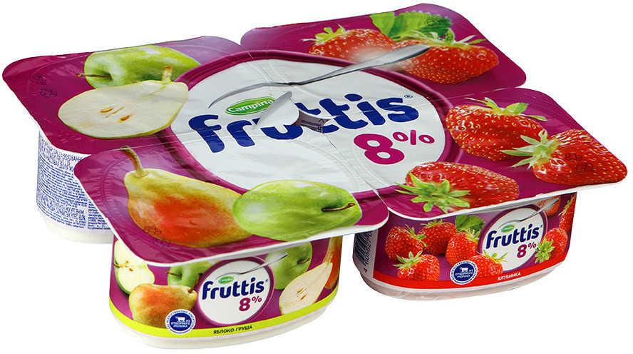 Продукт йогуртный пастеризованный  Фруттис супер экстра 8% клубника/яблоко/груша 'Ванночки' 115 гр