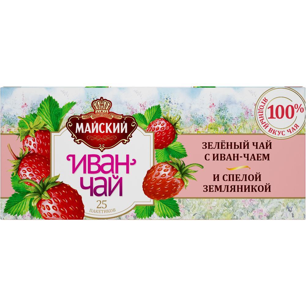 Чай Майский 'Иван-чай с зеленым чаем и земляникой' 25 пакетиков