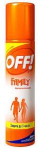 Средство защиты от комаров Off Family аэрозоль 100мл.