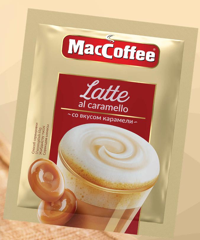 Напиток кофейный растворимый Maccofee латте со вкусом карамели 22гр.