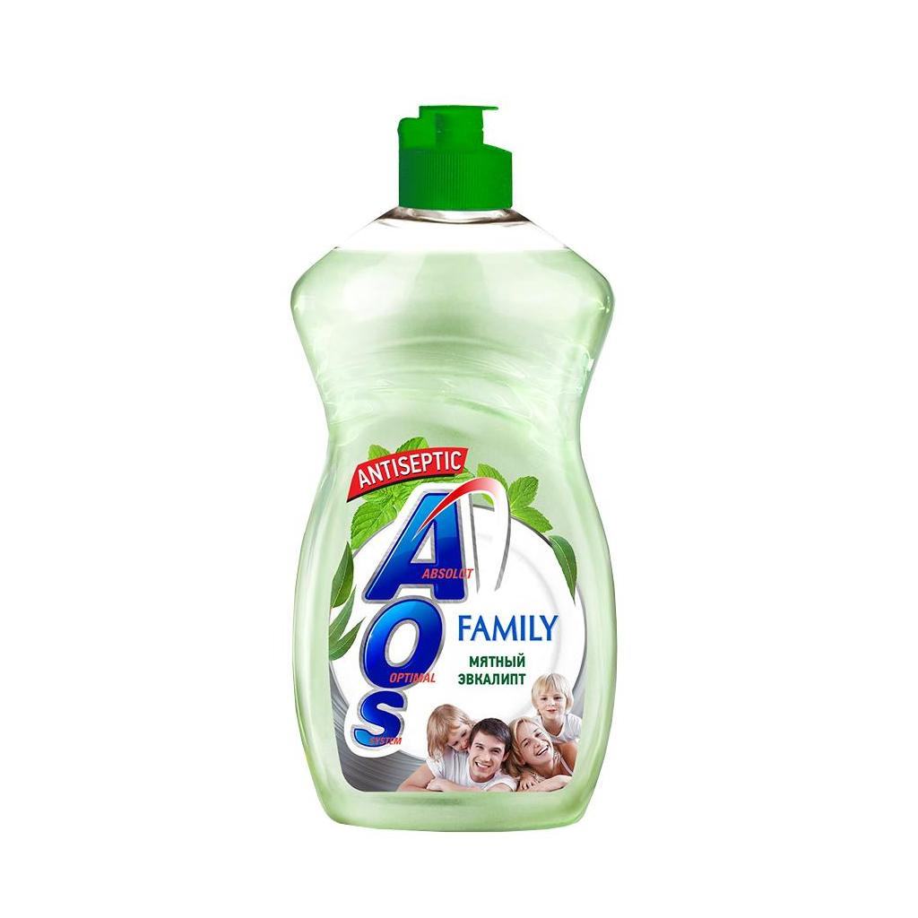 Жидкость для мытья посуды AOS Family эвкалипт 450гр.