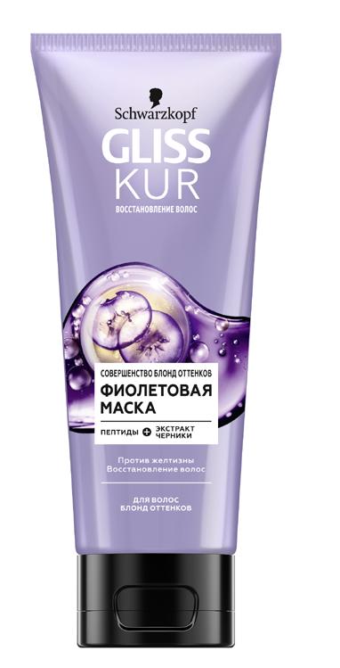 Фиолетовая маска GLISS KUR совершенство блонд оттенков 200мл.