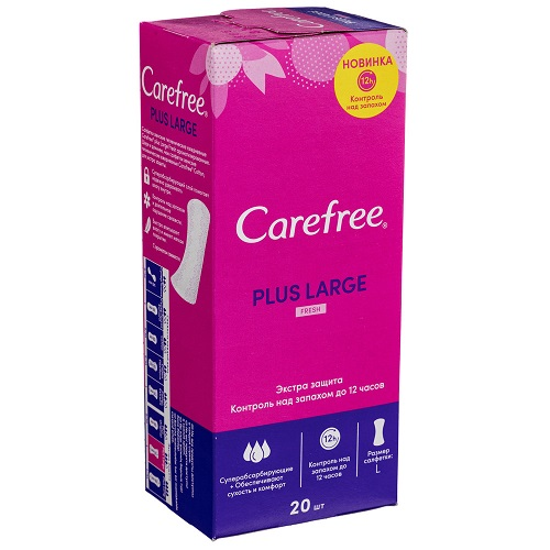 Carefree ежедневные прокладки Plus Large Fresh с ароматом Свежести 20шт.