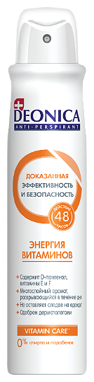 Антиперспирант Deonica Энергия Витаминов спрей 200 мл.