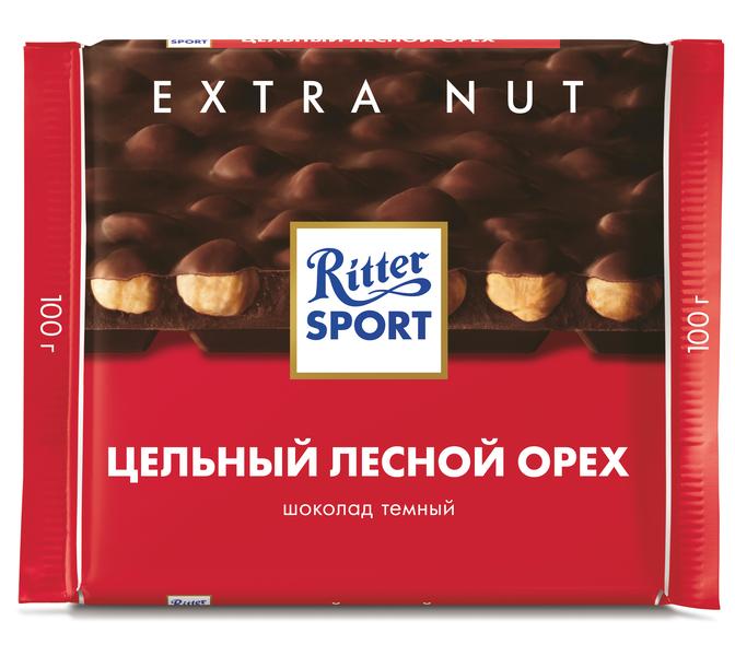 Шоколад  Риттер Спорт  молочный с цельным фундуком 100гр