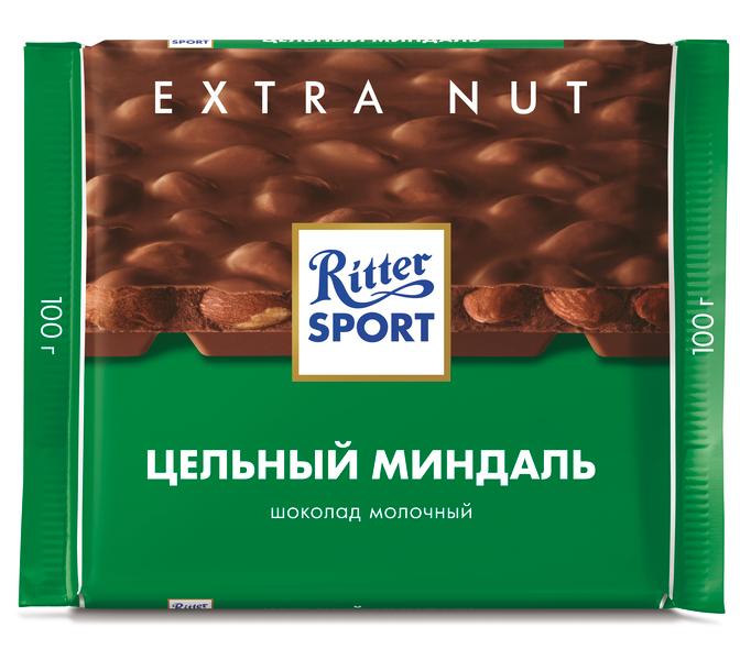 Шоколад  Риттер Спорт  молочный с цельным миндалем 100гр