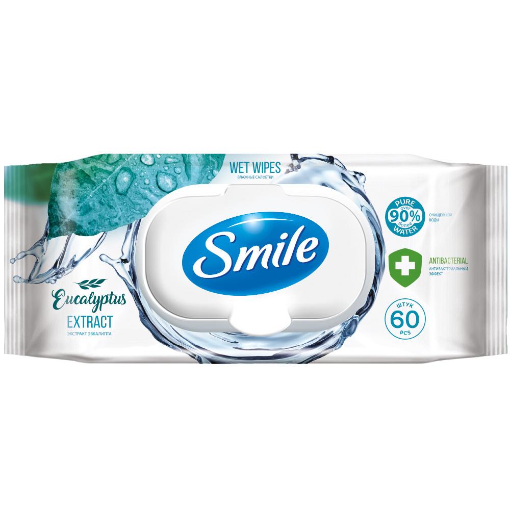 Влажные салфетки Smile с экстрактом эвкалипта 60шт